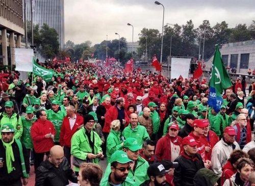 Многотысячный митинг состоялся в брюсселе